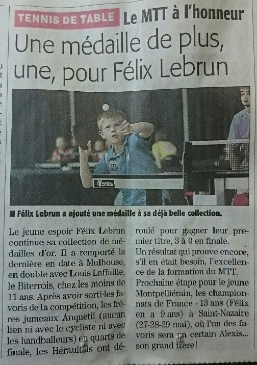 article Champion de France Félix